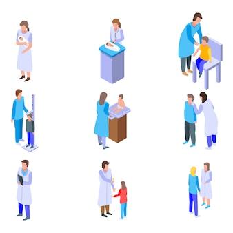 Conjunto de ícones de pediatra, estilo isométrico
