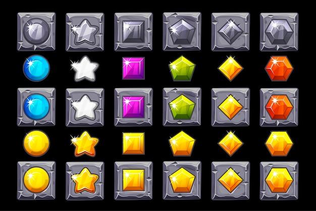 Conjunto de ícones de pedras preciosas no quadrado de pedra.