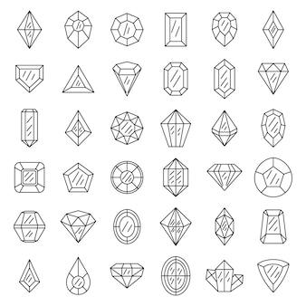 Conjunto de ícones de pedras preciosas