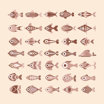 Conjunto de ícones de peixe