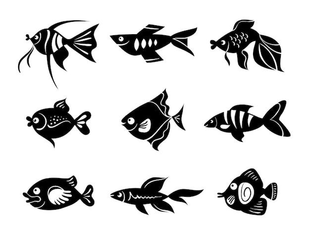 Conjunto de ícones de peixes