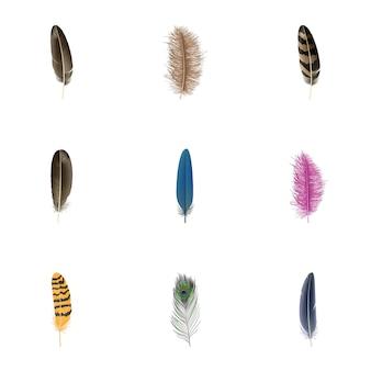 Conjunto de ícones de penas. conjunto realista de ícones do vetor de penas isolado