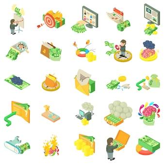Conjunto de ícones de pensamento monetário