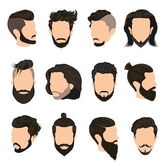 Conjunto de ícones de penteado de homens