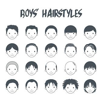 Conjunto de ícones de penteado de meninos