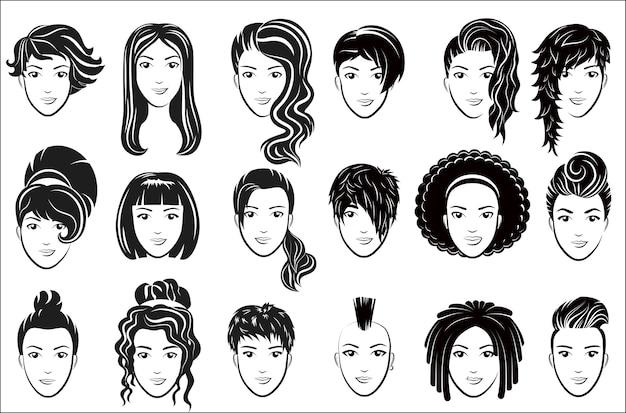 Conjunto de ícones de penteado feminino. publicidade logotipo de rosto de mulher elegante