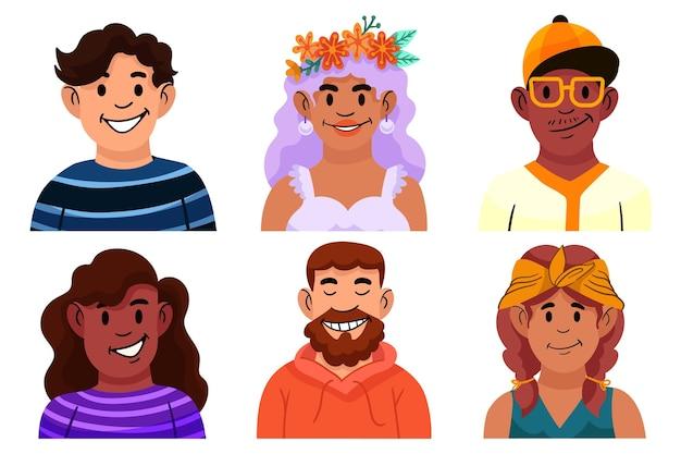 Conjunto de ícones de perfil desenhado à mão