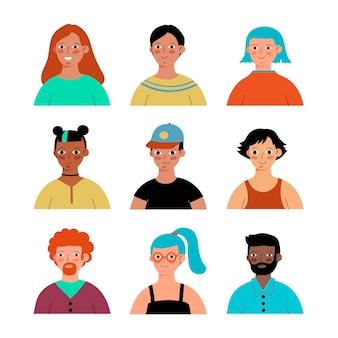 Conjunto de ícones de perfis diferentes desenhados à mão