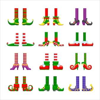 Conjunto de ícones de pernas de elfos de desenho animado