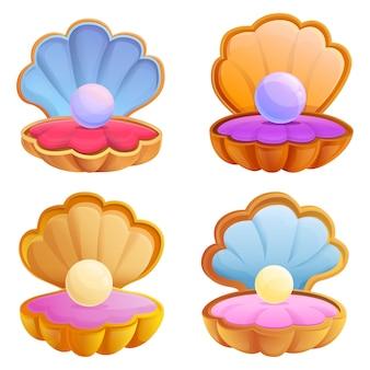 Conjunto de ícones de pérolas, estilo cartoon