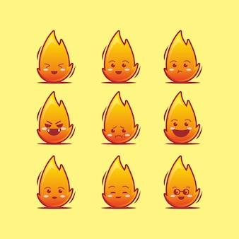 Conjunto de ícones de personagem de fogo fofo, estilo cartoon plano