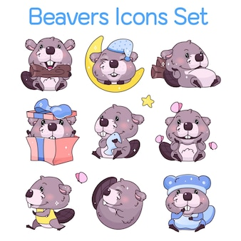 Conjunto de ícones de personagens de desenhos animados kawaii de castores fofos