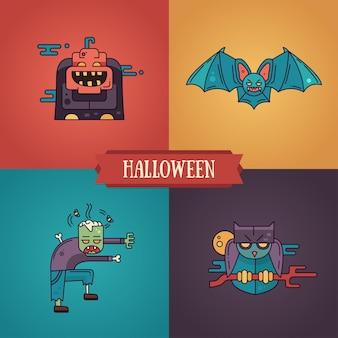 Conjunto de ícones de personagens de design plano de linha moderna