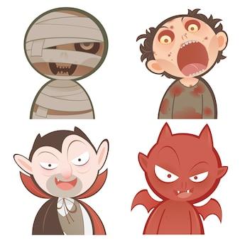 Conjunto de ícones de personagens de halloween bonito dos desenhos animados