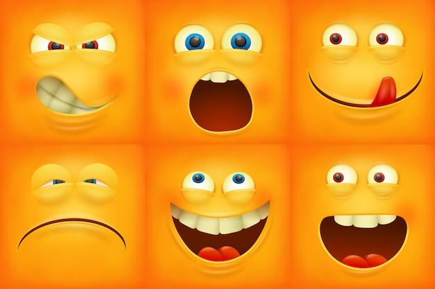 Conjunto de ícones de personagens emoji de rostos amarelos de emoticons