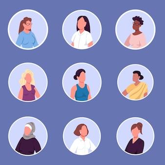 Conjunto de ícones de personagens sem rosto de mulheres de diferentes nacionalidades