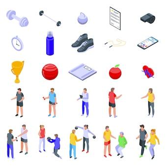 Conjunto de ícones de personal trainer, estilo isométrico