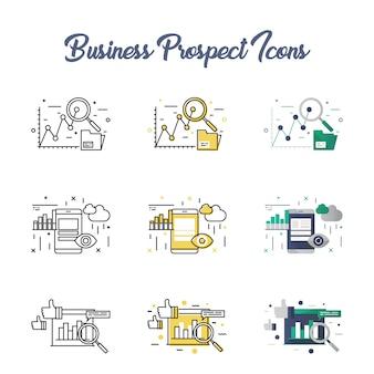 Conjunto de ícones de perspectiva de negócios