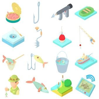 Conjunto de ícones de pesca em estilo cartoon