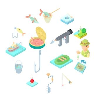 Conjunto de ícones de pesca, estilo cartoon
