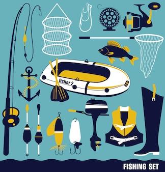 Conjunto de ícones de pesca.