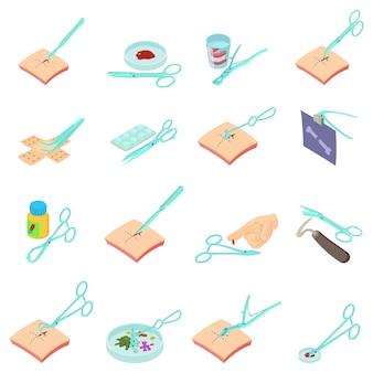 Conjunto de ícones de pesquisa clínica, estilo isométrico