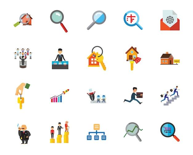 Conjunto de ícones de pesquisa comercial