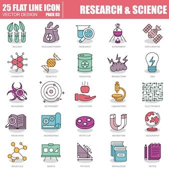 Conjunto de ícones de pesquisa e ciência