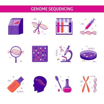 Conjunto de ícones de pesquisa genoma
