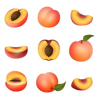 Conjunto de ícones de pêssego, estilo cartoon