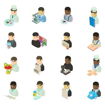 Conjunto de ícones de pessoal médico, estilo isométrico
