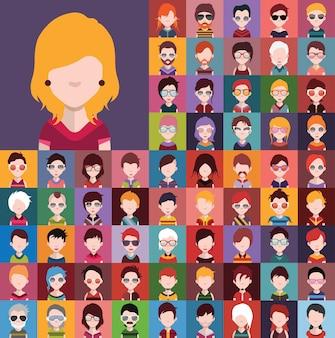 Conjunto de ícones de pessoas, avatares em estilo simples, com rostos