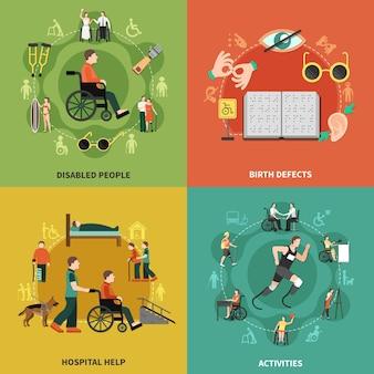 Conjunto de ícones de pessoas com deficiência com ilustração de descrições de atividades e ajuda hospitalar para pessoas com deficiência