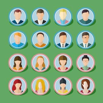 Conjunto de ícones de pessoas com rostos.