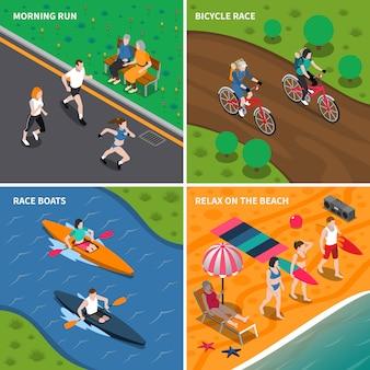 Conjunto de ícones de pessoas de atividade ao ar livre de verão
