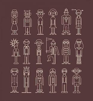 Conjunto de ícones de pessoas de contorno
