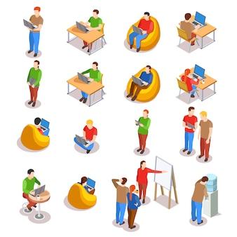 Conjunto de ícones de pessoas de coworking