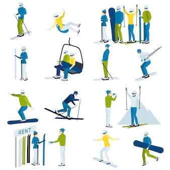 Conjunto de ícones de pessoas de estância de esqui