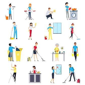 Conjunto de ícones de pessoas de limpeza