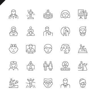 Conjunto de ícones de pessoas de linha fina