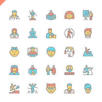 Conjunto de ícones de pessoas de linha plana