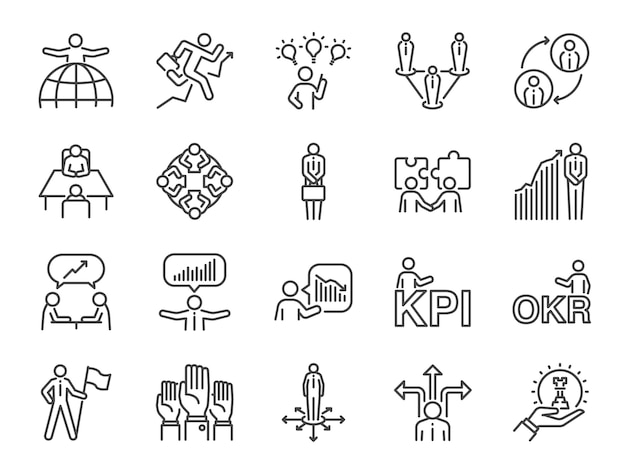 Conjunto de ícones de pessoas de negócios.