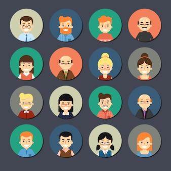 Conjunto de ícones de pessoas dos desenhos animados a sorrir