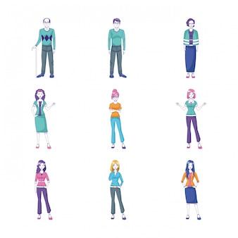 Conjunto de ícones de pessoas dos desenhos animados em pé, vestindo roupas casuais