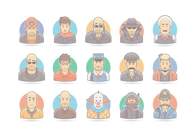 Conjunto de ícones de pessoas dos desenhos animados. ilustração de personagem. em branco