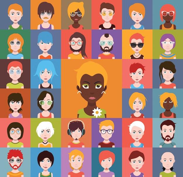 Conjunto de ícones de pessoas em estilo simples, com rostos.
