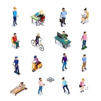 Conjunto de ícones de pessoas isométrica