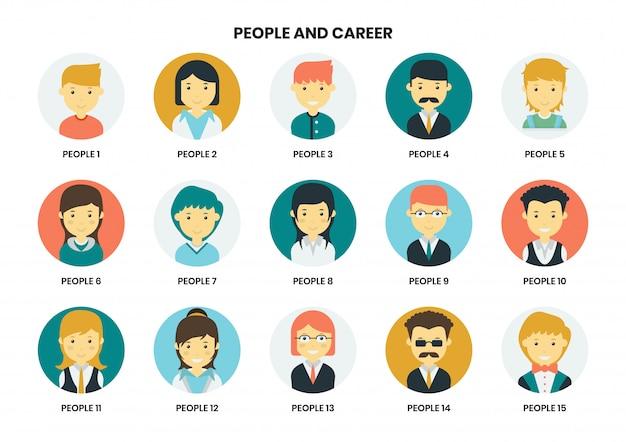 Conjunto de ícones de pessoas para negócios