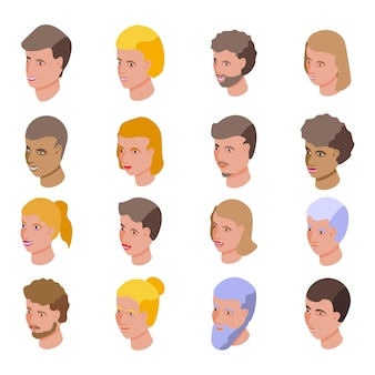 Conjunto de ícones de pessoas sorrindo. conjunto isométrico de ícones de pessoas sorridentes para a web