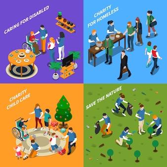 Conjunto de ícones de pessoas voluntárias de caridade
